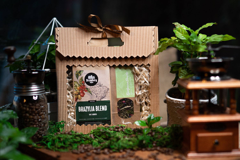 Zestaw prezentowy z kawą Brazil Blend i herbatą Egzotyczna sencha