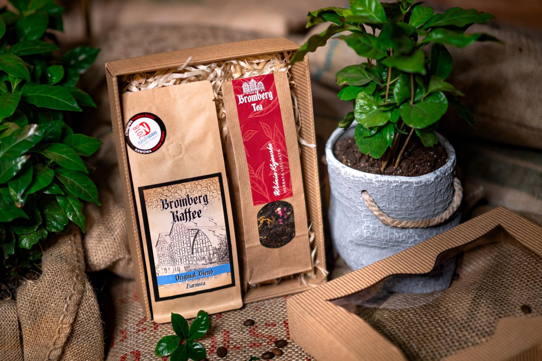 Zestaw prezentowy z kawą Original Blend i herbatą liściastą Wiśnia kujawska