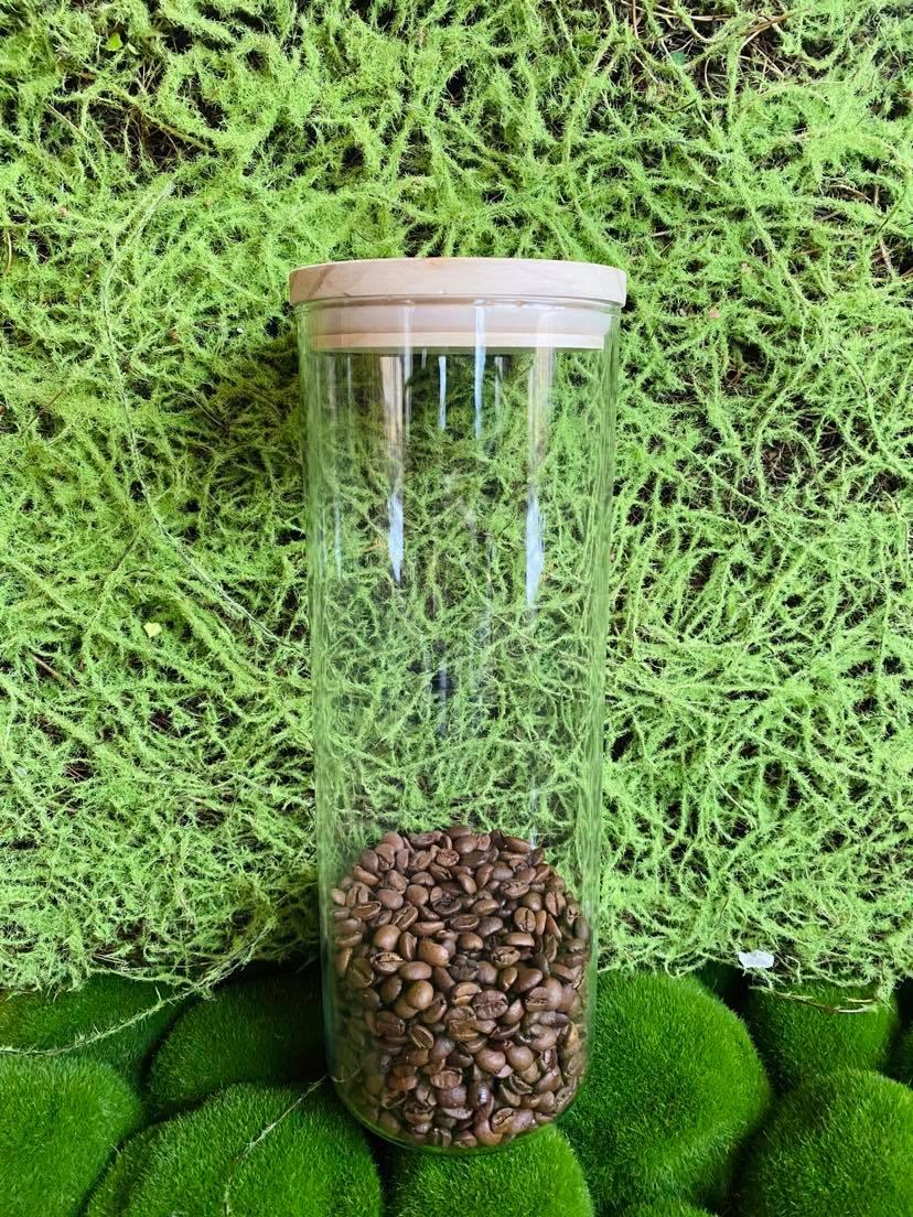 pojemnik szklany z bambusowym logowanym wieczkiem